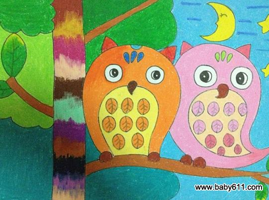 小班幼儿美术欣赏_幼儿绘画作品:可爱的猫头鹰 - 绘画作品