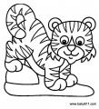 幼儿涂色简笔画:小老虎