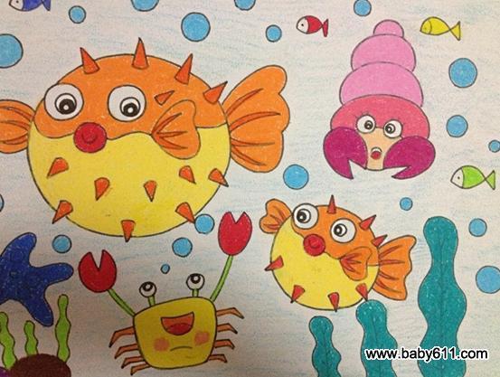 幼儿绘画作品:美丽海底
