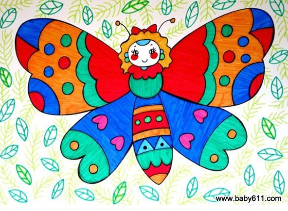 幼儿园教案大全 幼儿园手工技能教案 绘画作品  可爱的蝴蝶