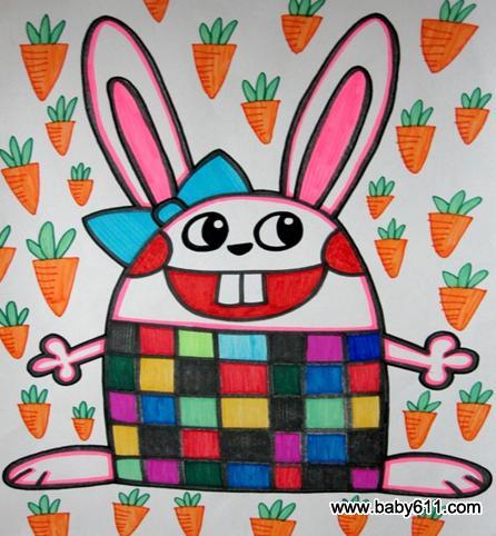绘画作品 爱吃萝卜的小白兔图片