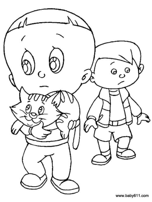 儿童简笔画:大头儿子和小猫
