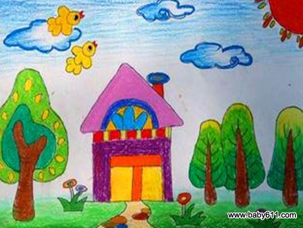 幼儿园小班美术作品 美丽的房子