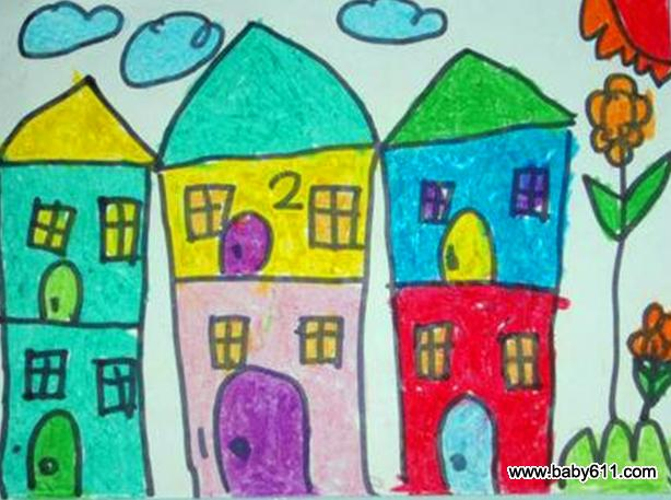 幼儿园小班美术作品:美丽的房子 - 绘画作品