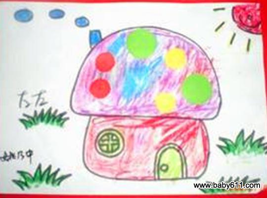 幼儿园小班美术作品:美丽的房子(3)图片