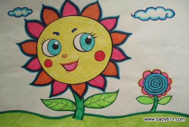 绘画作品    儿童绘画作品:太阳花         幼儿园小班美术作品:美丽