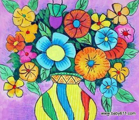儿童绘画作品:漂亮的花瓶