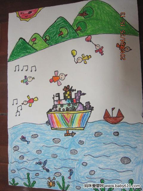 绘画作品  幼儿园大班绘画作品:大海         中班幼儿美术作品:树林