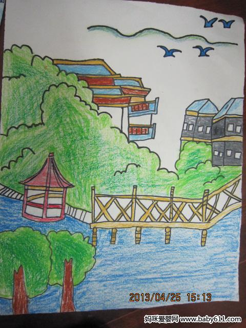 幼儿园大班绘画作品:小桥流水