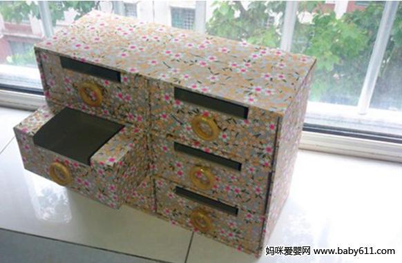 废旧物再利用:废旧纸盒制作杂物柜