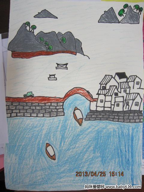 幼儿园大班绘画作品 古镇