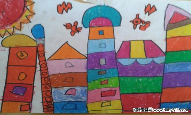 中班幼sxda美术作品:快乐的房子
