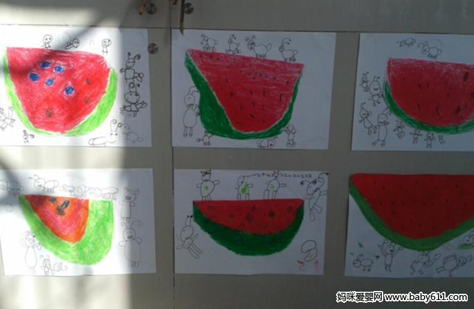 中班幼sxda美术作品:蚂蚁和西瓜