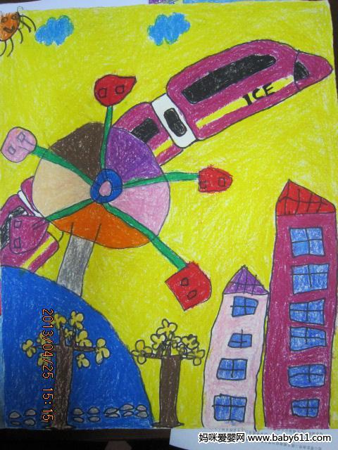 幼sxda园大班绘画作品:风车