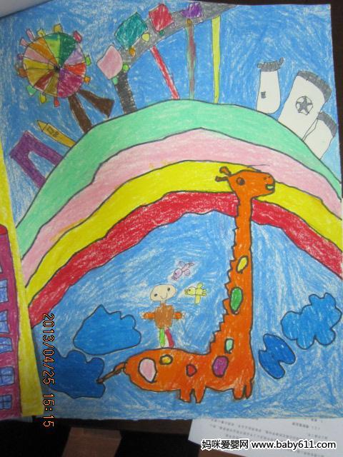 幼sxda园大班绘画作品:长颈鹿