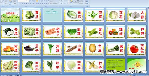 幼儿园小班健康课件:认识蔬菜