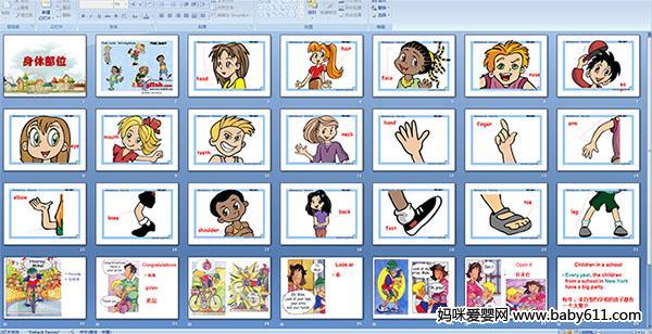 幼儿园大班英语《身体部位》多媒体课件