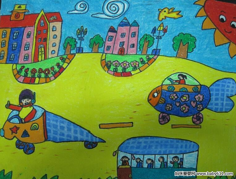 幼sxda绘画:太阳能汽车