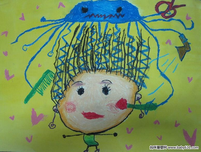 幼儿绘画作品:美发师