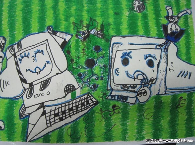 幼儿绘画作品:电脑娃娃