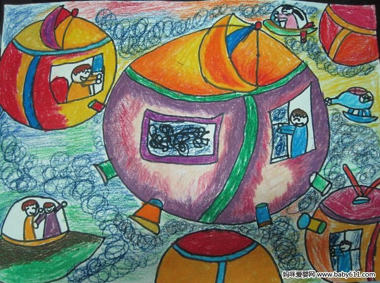幼儿绘画作品:太空垃圾站图片