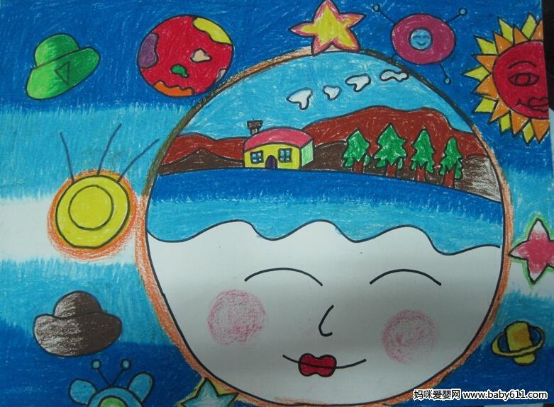 幼儿绘画作品:遨游太空