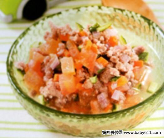 0-1岁宝宝食谱:什锦猪肉菜末