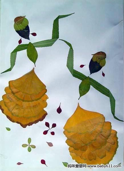 幼儿园手工:树叶拼图大全(4)