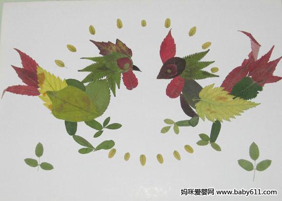 幼儿园手工:树叶拼图大全(4) - 幼儿园手工制作图片