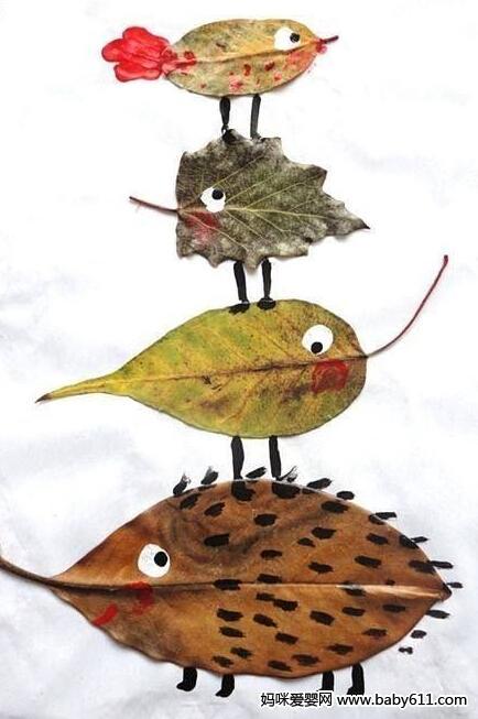 幼儿园用树叶作画――正在做游戏的小动物们