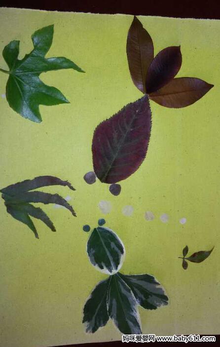 幼儿手工作品:树叶贴画
