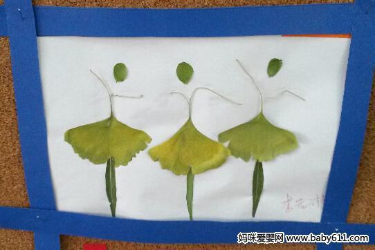 幼儿树叶贴画作品