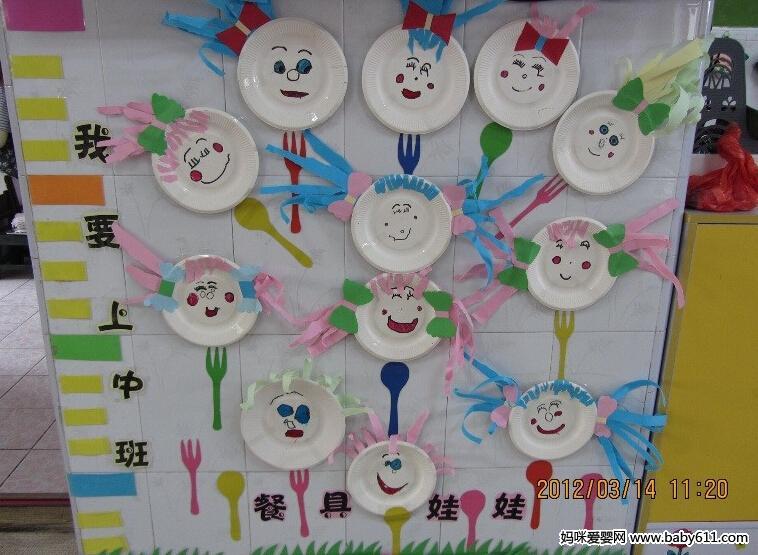 幼儿园中班墙面:餐具娃娃