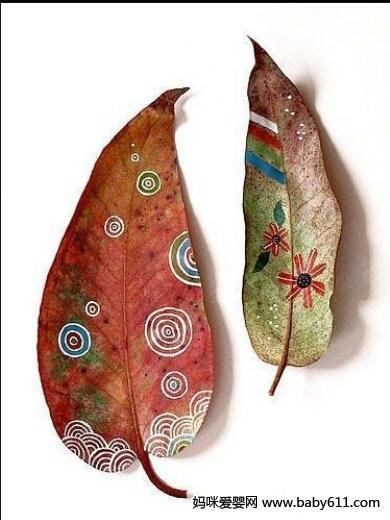 树叶彩绘(2) - 幼儿园手工制作图片
