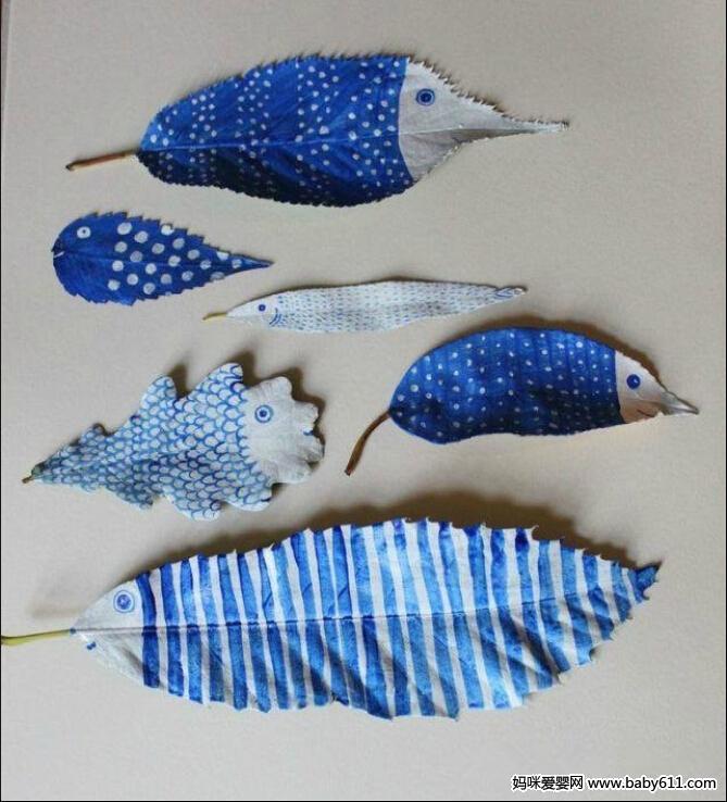 树叶彩绘(7) - 幼儿园手工制作图片