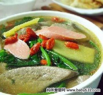 儿童菜谱汤类:黄花菜菠菜猪肝汤