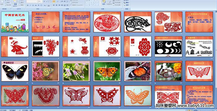 剪纸:是以纸为材料,经过剪、刻、染等方法塑造出各种艺术形象,用于生活环境的装饰和喜庆活动的点缀,寄托着对生活的美好愿望 。   剪纸的艺术特点:单纯,明快,简朴,朴实,富有装饰性。   表现手法:单色和彩色。   单色包括有:阴刻,阳刻,阴阳结合,剪影   此ppt多媒体课件总共33页,请往下拉点击下方按钮进行下载。