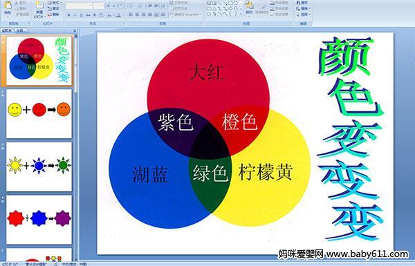 幼儿园小班多媒体科学活动——颜色变变变