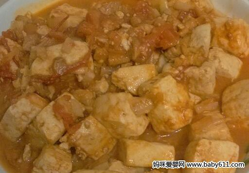 儿童菜谱豆腐类:肉末番茄豆腐