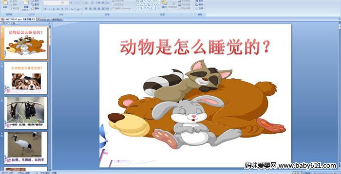 幼儿园大班科学《动物是怎么睡觉的?》ppt课件