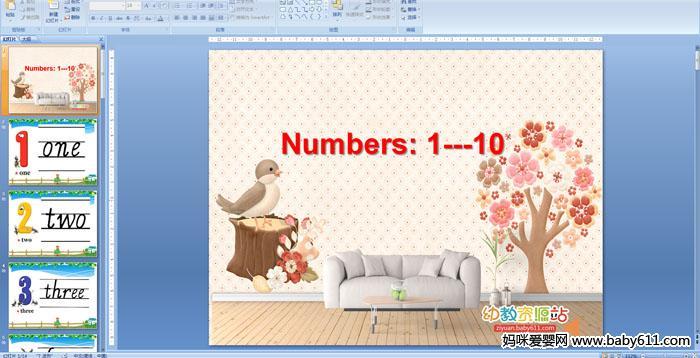 幼儿园中班英语《Numbers: 1---10》PPT课件