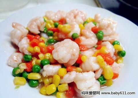婴儿补钙食谱:五彩虾仁