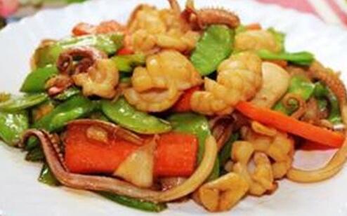 蒜香海鲜炒荷兰豆