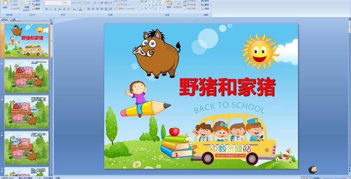 幼儿园故事《野猪和家猪》PPT课件